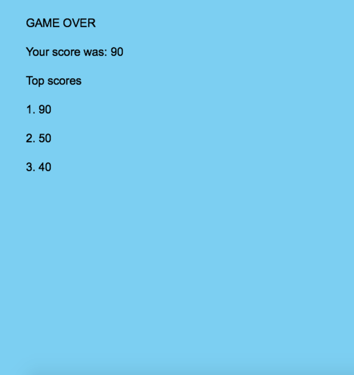 scores screen of snake game
